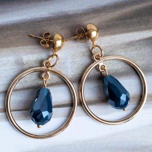 la beij oorbellen cirkel goud facet blauw