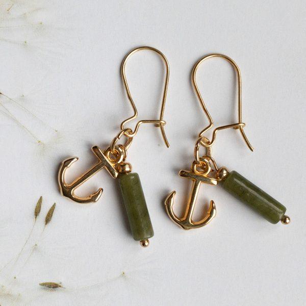 la Beij oorbellen goud anker groen