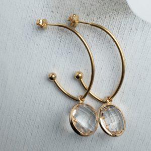 la Beij oorbellen goud hanger kristal transparant