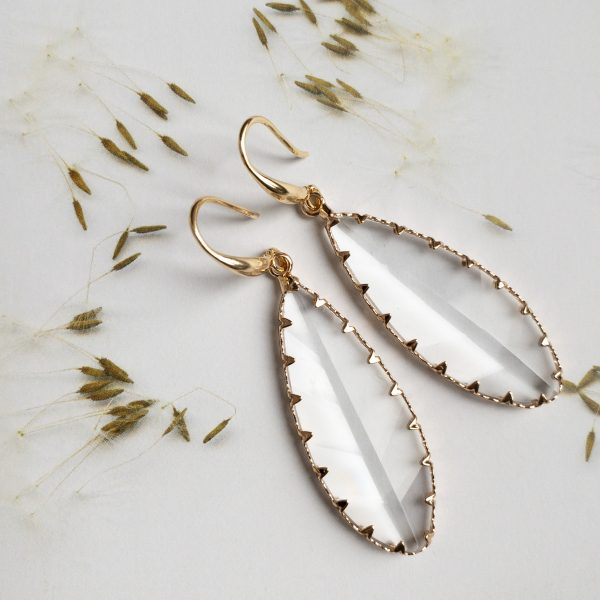 Oorbellen Goud Hanger Glas Facet   la Beij   unieke & stijlvolle sieraden