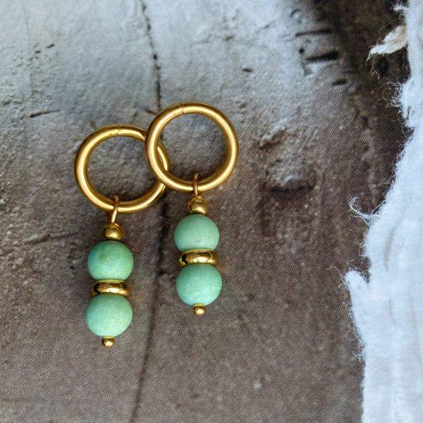la Beij oorbellen goud natuursteen turquoise