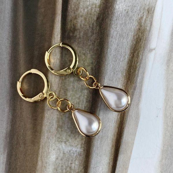 la Beij oorbellen goud ring druppel parel