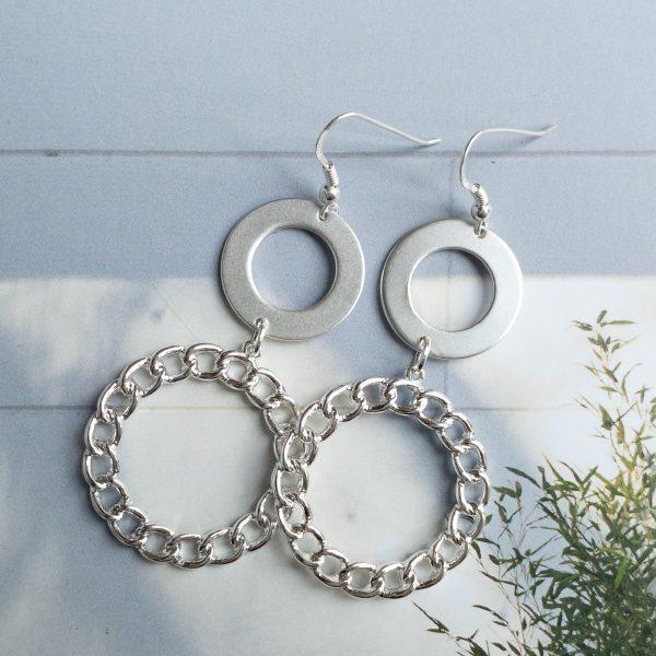 la Beij oorbellen zilver duo ring