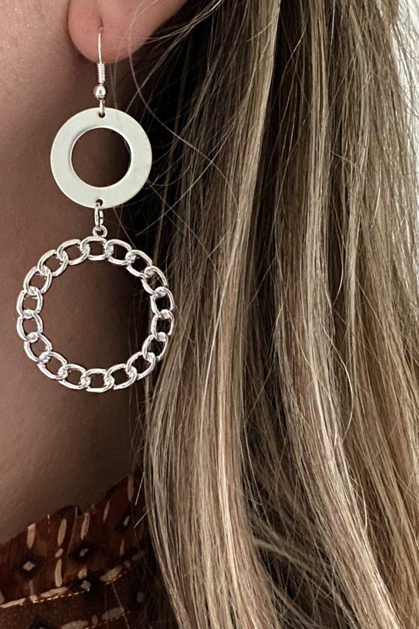la Beij oorbellen zilver duo ring in oor