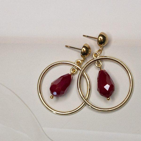 Oorbellen Cirkel Goud Facet Rood | la Beij | unieke & stijlvolle sieraden
