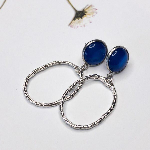 Oorbellen Zilver Kobalt Ovaal | la Beij | unieke & stijlvolle sieraden