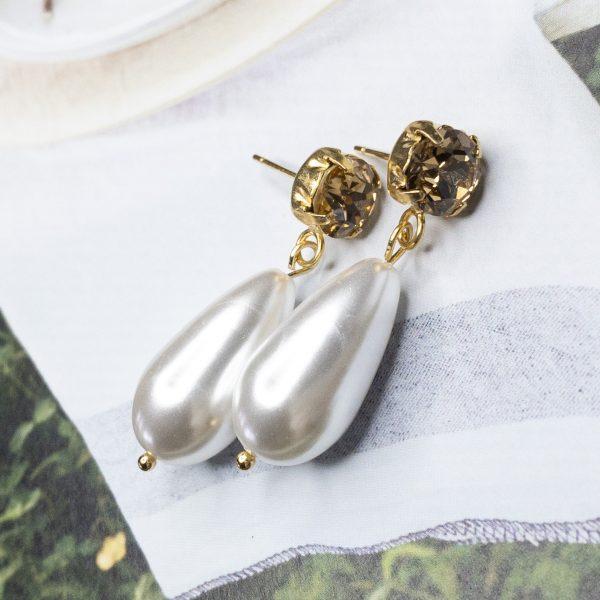 la Beij oorbellen goud champagne parel