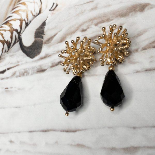 la Beij oorbellen goud koraal zwart