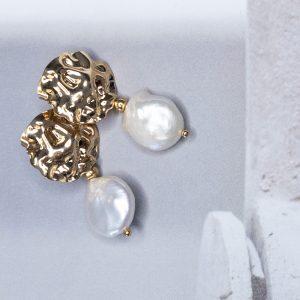 la Beij oorbellen goud relief parel
