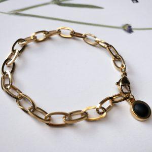 Armband Goud Schakel Zwart