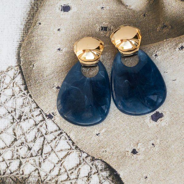 la Beij Oorbellen Goud Blauw Vintage