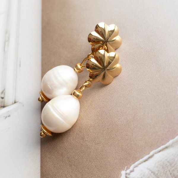 la Beij oorbellen goud bloem parel