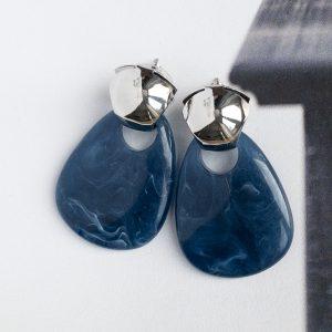 la Beij Oorbellen Zilver Blauw Vintage